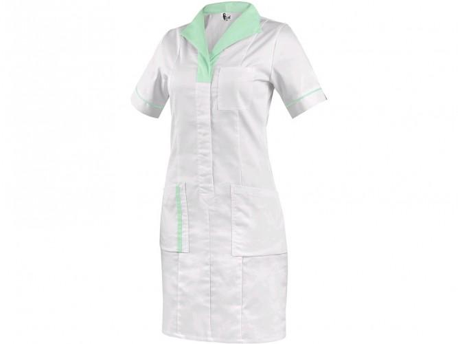 Dámské šaty CXS BELLA bílé se zelenými doplňky